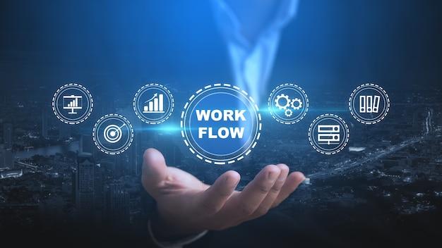Business en workflowconcept over workflow om de efficiëntie in het proces te verbeteren met automatisering