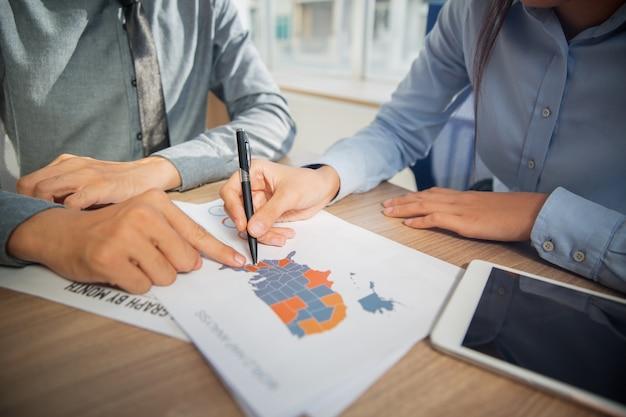 Business team het bestuderen van de vs marketing statistieken