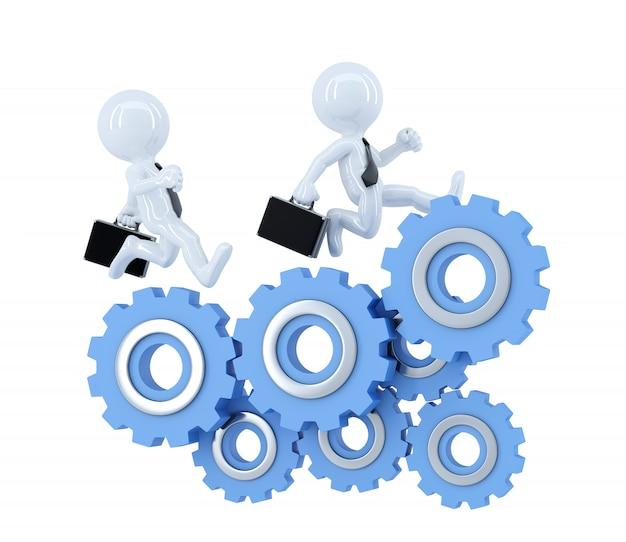 Business team loopt over tandwiel elementen. bedrijfsconcept. geïsoleerd. bevat uitknippad