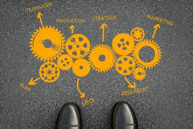 Businessplan met grafiek op asfaltwegachtergrond