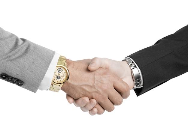 Bussines hand schudden geïsoleerd op een witte achtergrond close-up Premium Foto