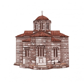 Byzantijnse kerk in athene. griekse oude kerk.