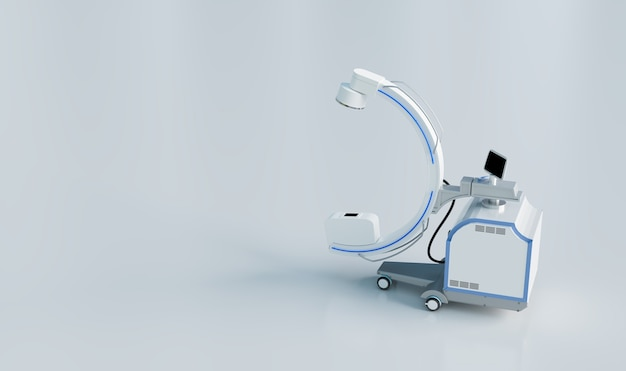 C arm real-time x-ray machine in operatiekamer op witte achtergrond, 3d-illustraties rendering