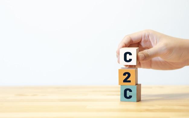 C2c-concepten met de hand van de tekstpersoon die houtblok zet