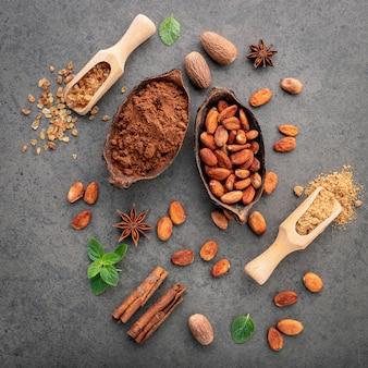 Cacaopoeder en cacaobonen op steenachtergrond.