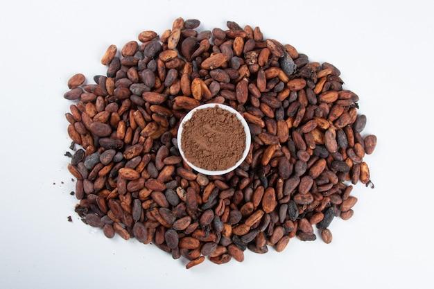 Cacaopoeder over ruwe cacaobonen op wit.