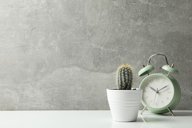 Cactus en wekker tegen grijs oppervlak