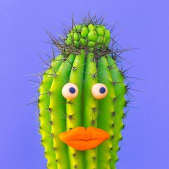 Cactus hipster man met sensuele lippen en ã µyes. verlegen heer