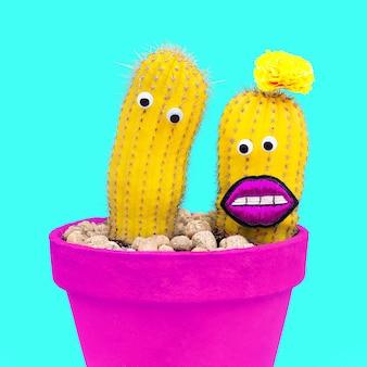 Cactussen verliefd. minimaal grappig modeconcept.
