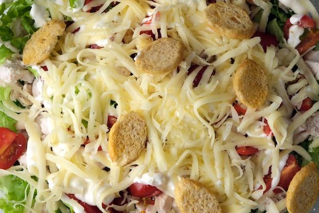 Caesar salade. macrofoto van verse en smakelijke salade