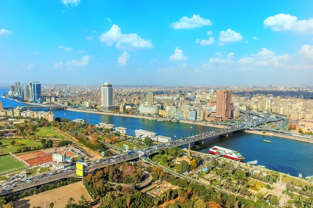 Cairo centrum van bovenaf, panoramisch uitzicht in egypte.