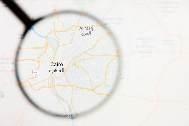 Caïro, egypte stad visualisatie illustratief concept op het beeldscherm door vergrootglas