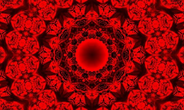 Caleidoscoop achtergrond. abstracte fractale vormen. mooie satanische caleidoscooptextuur. fantasie chaotisch kleurrijk fractal patroon. uniek caleidoscoopontwerp. vuurteken van de duivel.