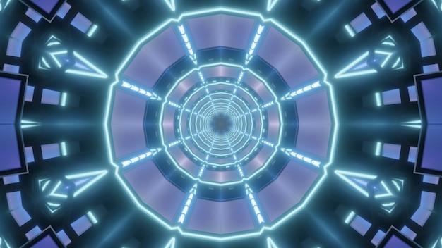 Caleidoscopische 3d illustratie van abstracte achtergrond met blauwe neonlijnen die ronde tunnel vormen