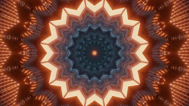 Caleidoscopische 3d illustratie van fel oranje lichten die schijnen en een abstract stervormig ornament vormen