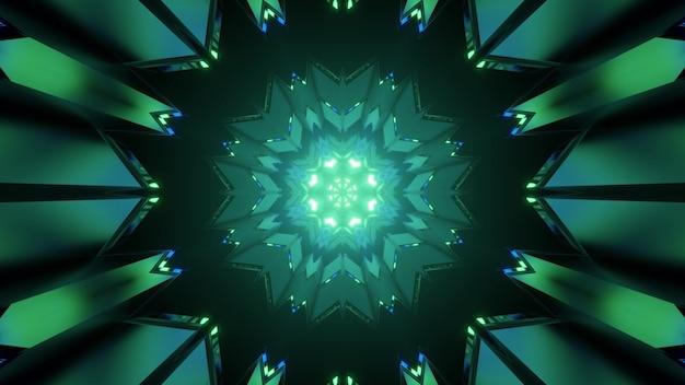 Caleidoscopische 3d illustratie van groen poly hoekig patroon dat abstracte sferische tunnel op zwarte achtergrond vormt