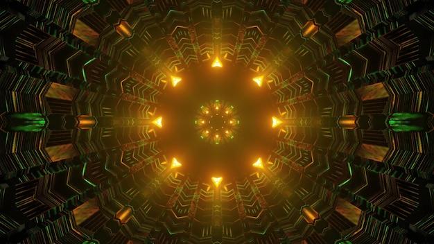 Caleidoscopische geometrische 3d illustratie van abstracte bolvormige gang met ongelijke muren gemaakt van rechthoekige cellen die leiden tot gloeiende gele lichten