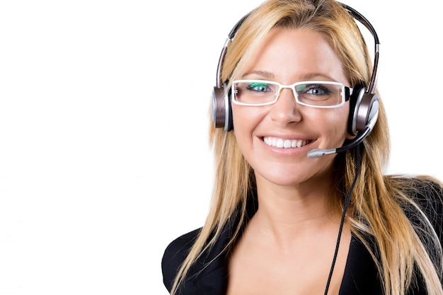 Call center blonde vrouw met hoofdtelefoon