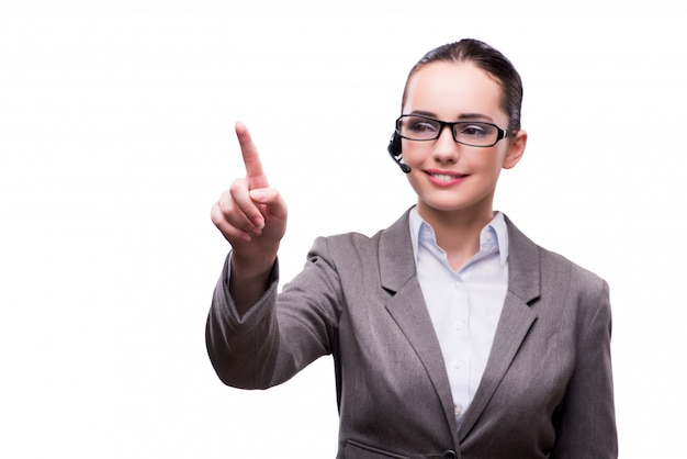 Call centreexploitant in bedrijfsdieconcept op wit wordt geïsoleerd