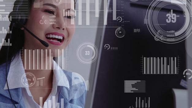 Callcenter voor klantenondersteuning levert gegevens in conceptuele visie