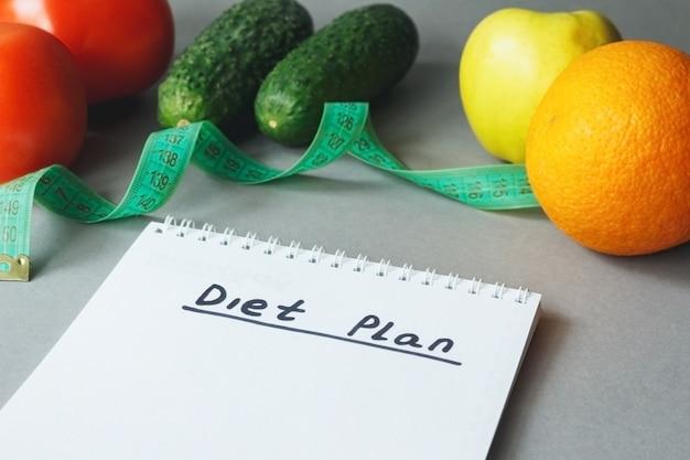 Calorieën controle maaltijdplan voedsel dieet en gewichtsverlies concept dieetplan met verse groente en fruit op tafel
