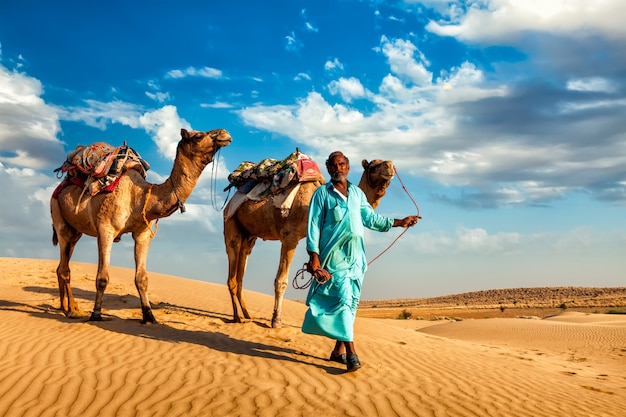 Cameleer kameel chauffeur met kamelen in de duinen van thar woestijn