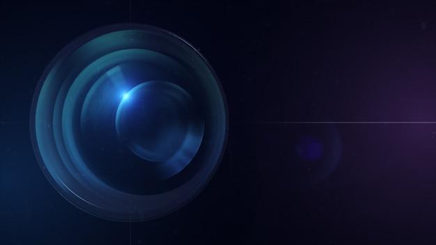 Cameralens met lensreflecties. 3d-weergave