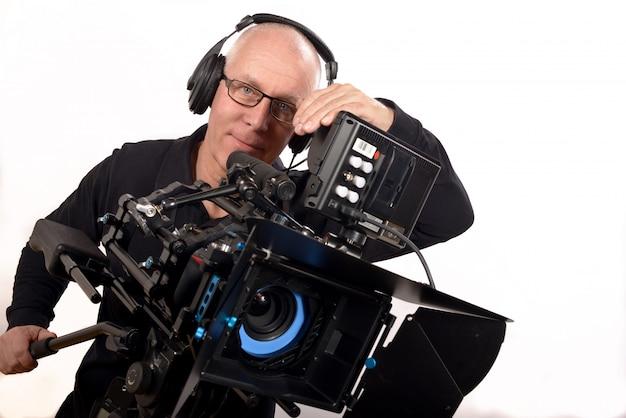 Cameraman met koptelefoon