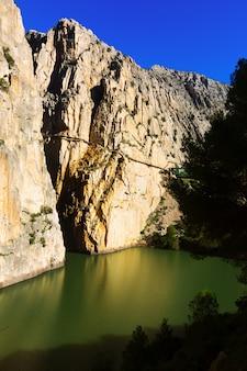 Caminito del rey over reservoir in chorro