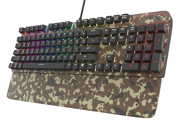 Camouflage gekleurd computertoetsenbord met rgb-kleur op wit wordt geïsoleerd