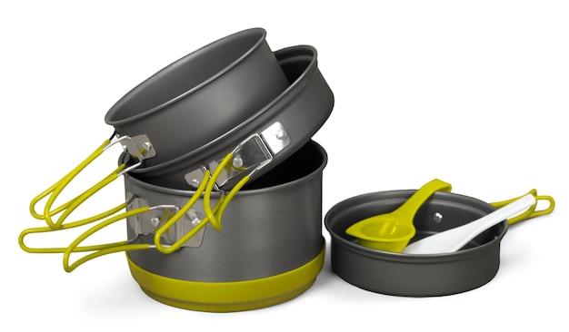 Camping potten, titanium metaal geïsoleerd op een witte achtergrond close-up.