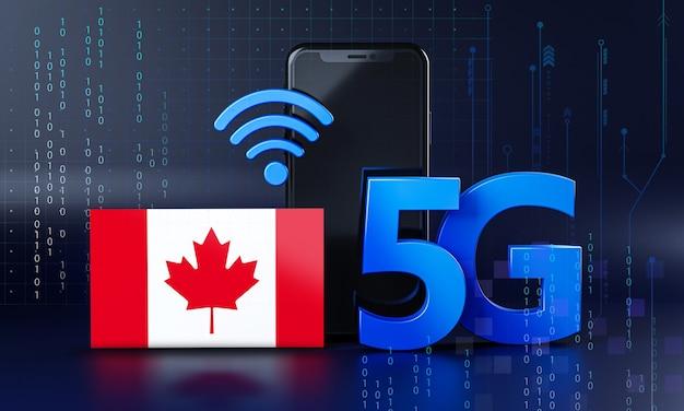 Canada klaar voor 5g-verbindingsconcept. 3d-rendering smartphone technische achtergrond