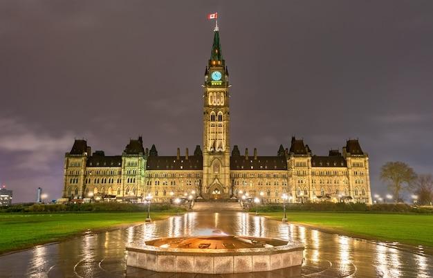 Canadees parlementsgebouw op parliament hill in ottawa