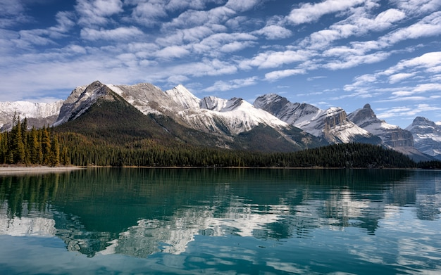 Canadese rockiesbezinning over wigvijver in de ochtend