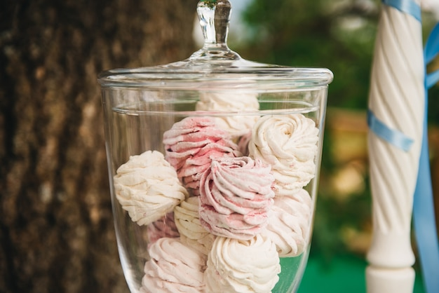 Candy bar voor je verjaardag. kinderfeestje in de natuur. luchtige witte en roze marshmallow