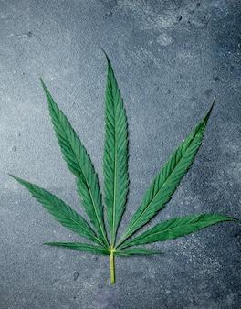 Cannabis (marihuana) bladeren op een donkere