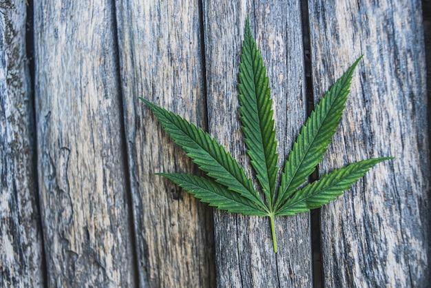 Cannabis op een oude houten achtergrond. detailopname.