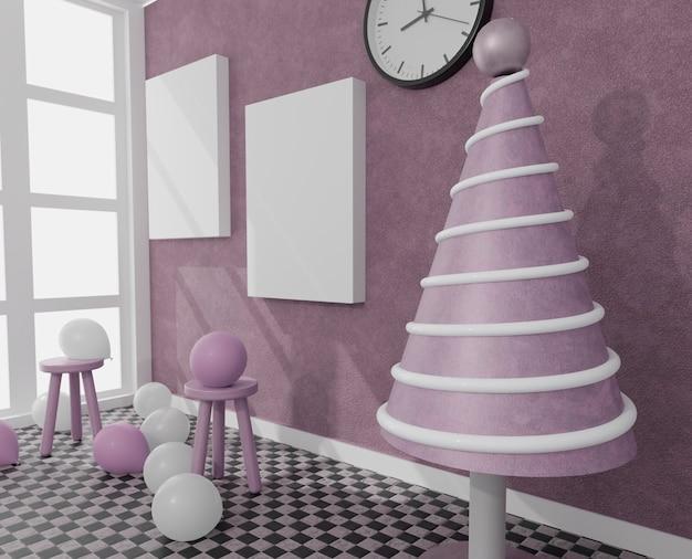 Canvas met wat ballonnen in een daglichtkamer met kerstboom