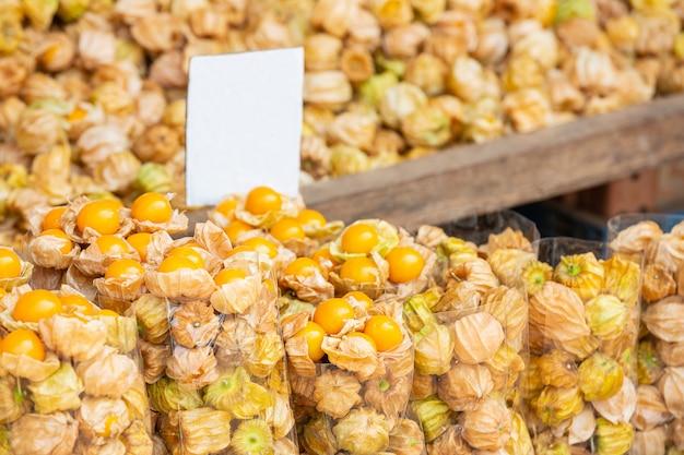 Cape gus berry in de markt, cape gus berry-achtergrond