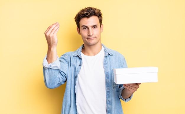Capice of geld gebaar maken, u vertellen om uw schulden te betalen!. witte doos concept