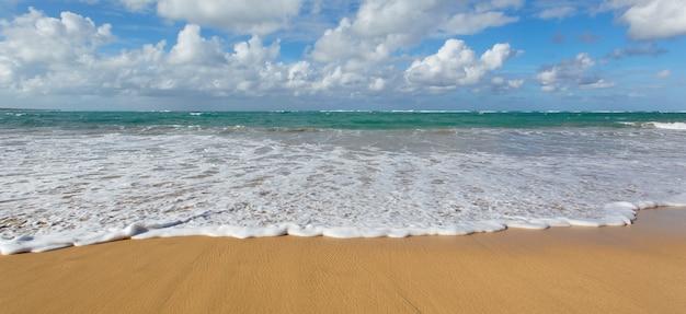 Caraïbisch strand met blauwe hemel