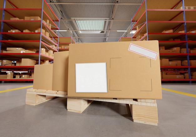 Cardbox in een magazijn -