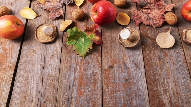 Cardoncellipaddestoelen, appels, walnoten en kleurrijke bladeren op oude rustieke houten planken. autumn thanksgiving-dagachtergrond, exemplaarruimte