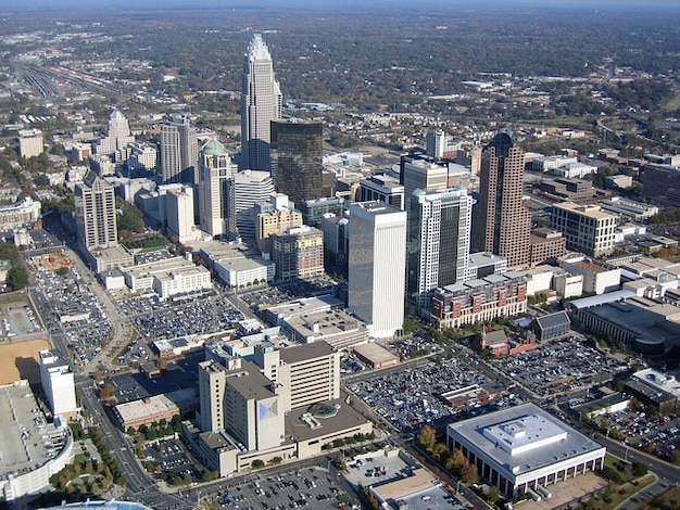 Carolina, stad, luchtfoto north view charlotte