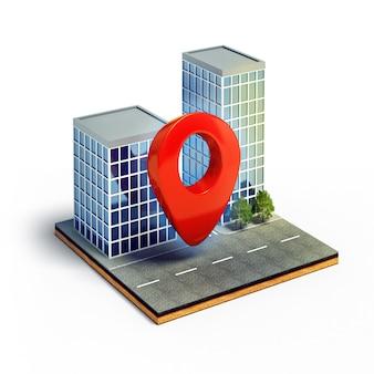 Cartografie pin op doorsnede van isometrische stad