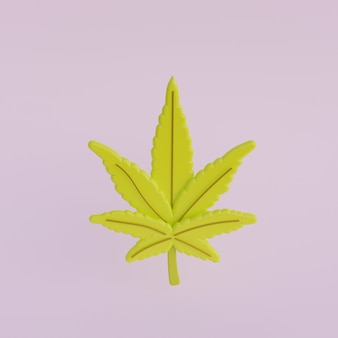 Cartoon 3d blad van cannabis