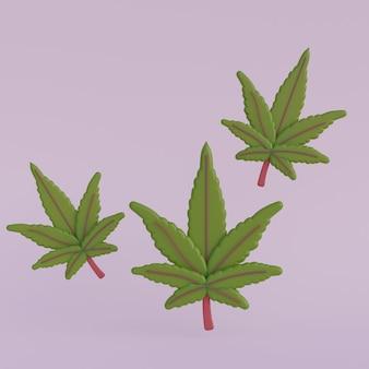 Cartoon 3d bladeren van cannabis render illustratie