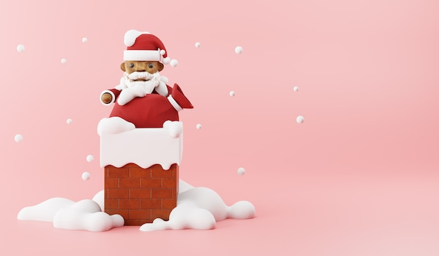Cartoon 3d render van de kerstman met zak op schoorsteen