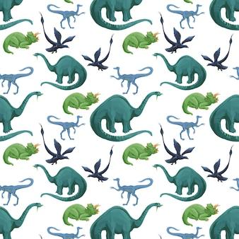 Cartoon aquarel dinosaurussen naadloze patroon. leuke hand getrokken acryl dinosaurussen textuur.