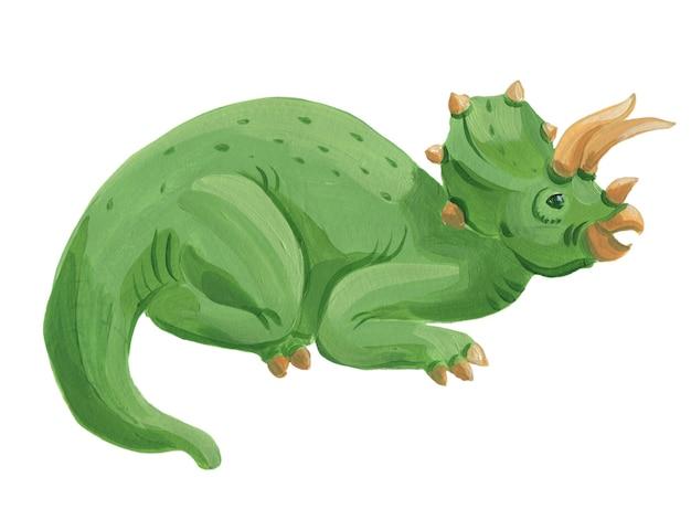 Cartoon aquarel triceratops geïsoleerd op wit. leuke hand getrokken acryl triceratops illustratie.